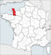 Map showing Manche department in France. (I was born here ;-)